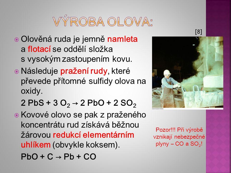 Výroba olova: [8] Olověná ruda je jemně namleta a flotací se oddělí složka s vysokým zastoupením kovu.